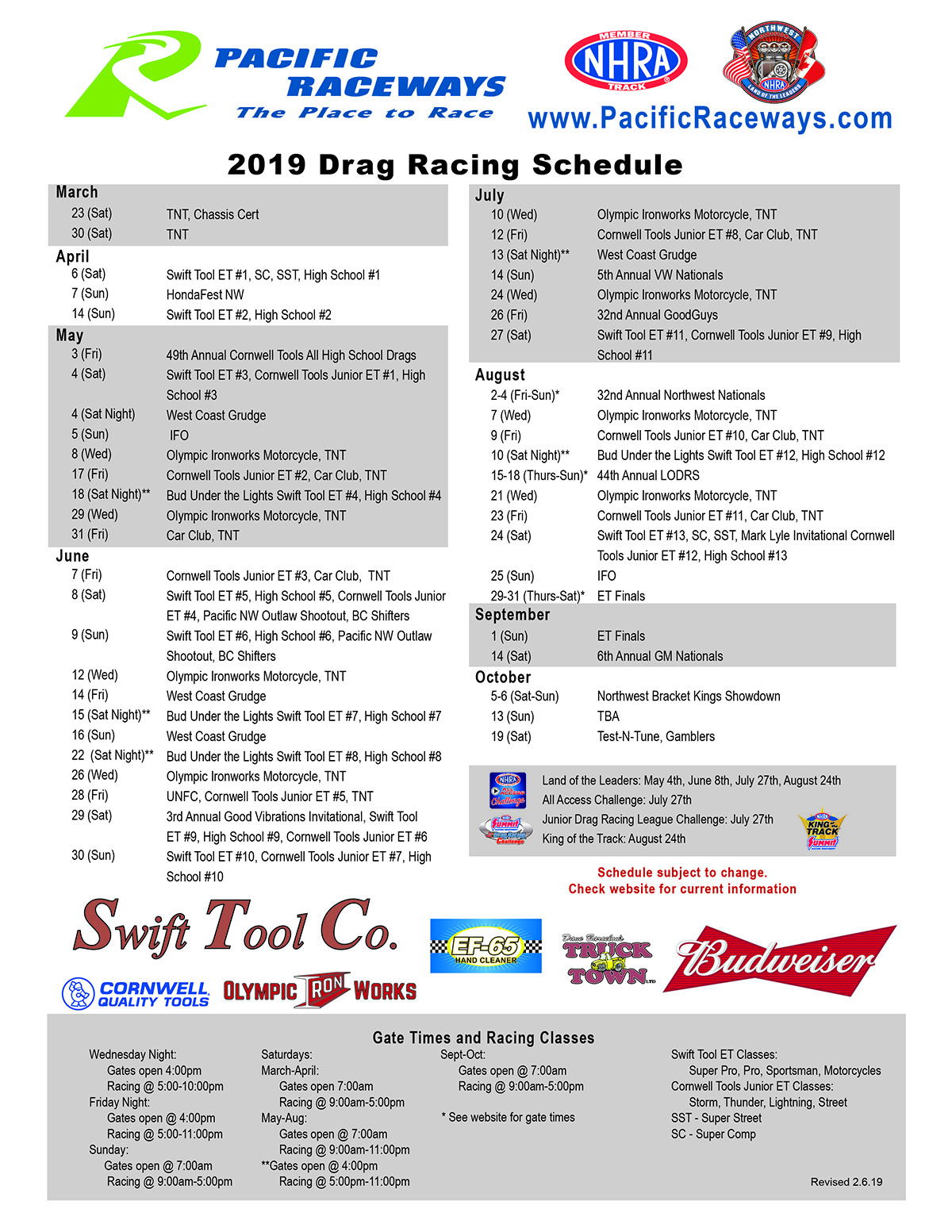 image about Printable Olympic Tv Schedule known as Drag Race Agenda - Pacific Raceways : Pacific Raceways